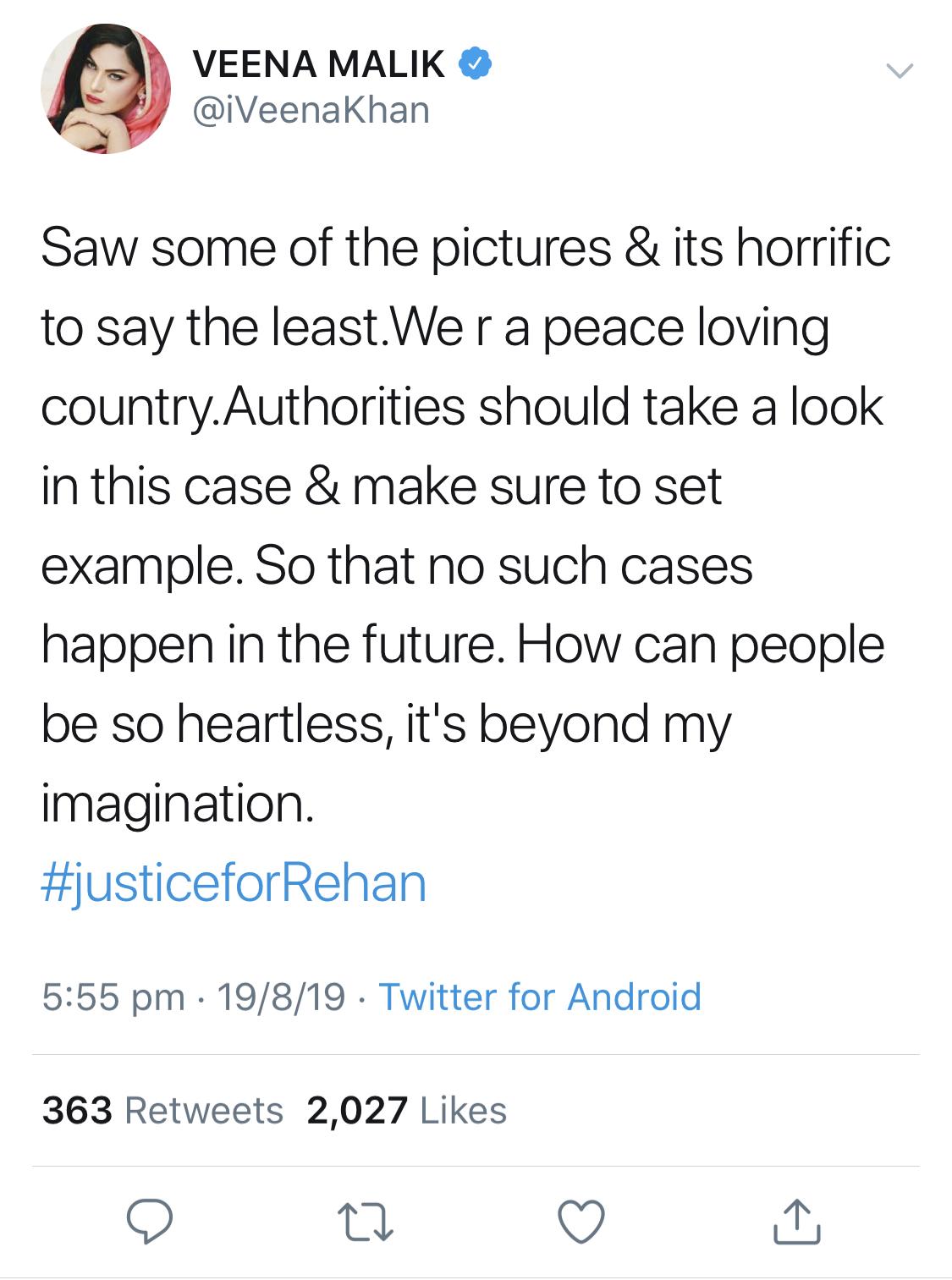 veena malik tweet for justice for rehan