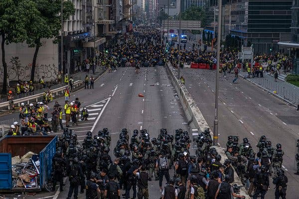 hong kong  police fired tear gas and protesters threw stones and gasoline bombs