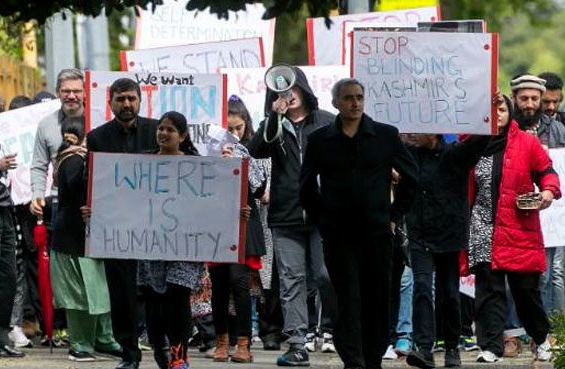 Pakistani Kashmiri new zealand protest