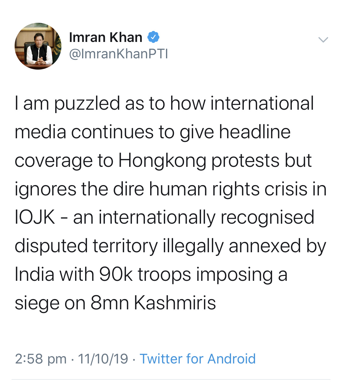 PM imran khan tweet kashmir