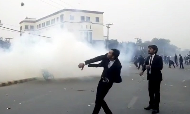 violent protest by lawyers at  lahore