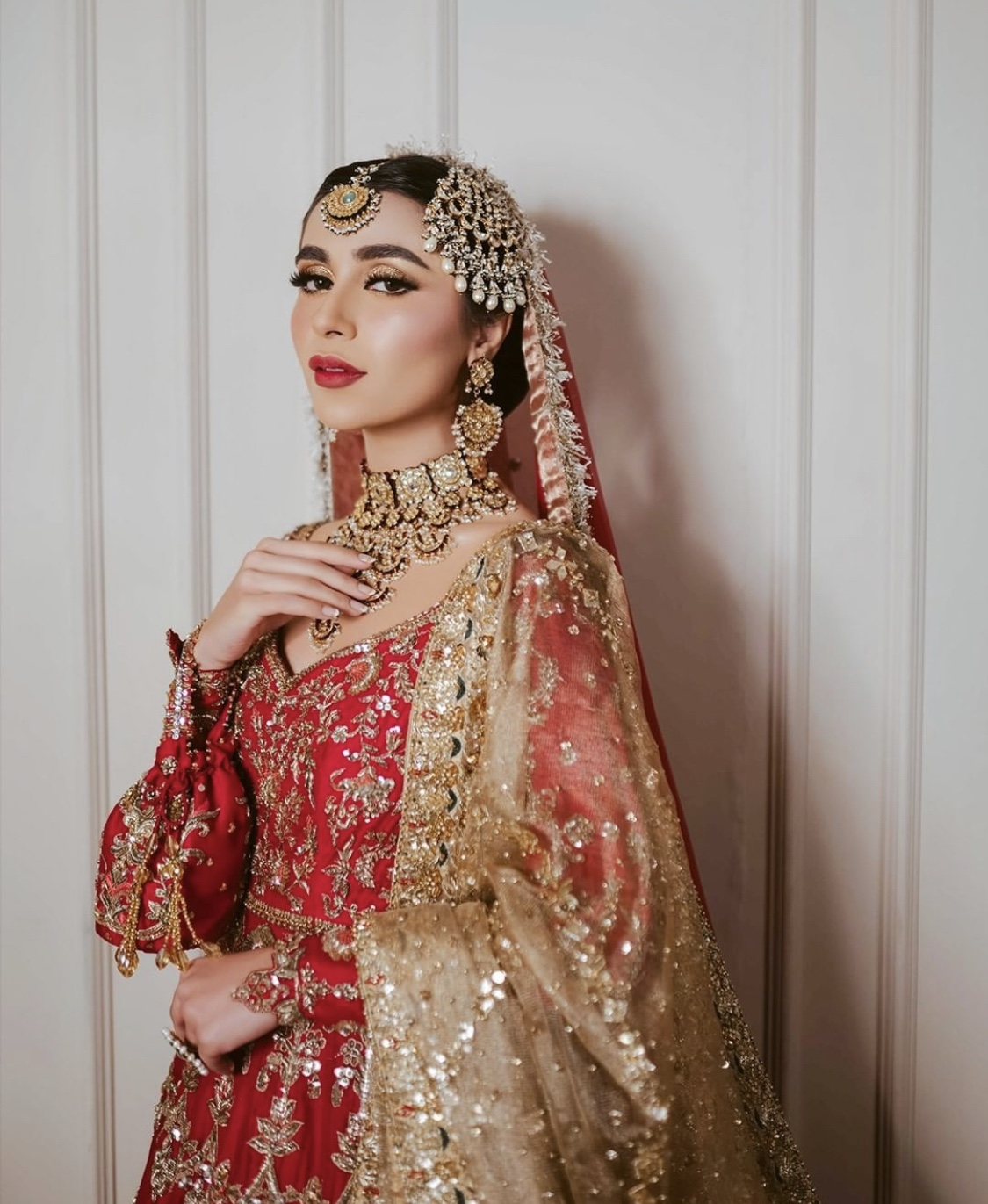 red pakistani bridal outfit