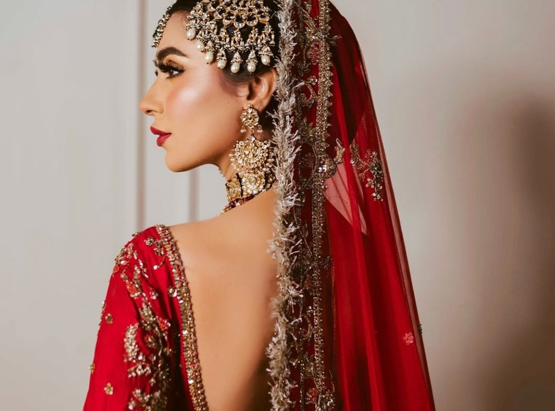red bridal outfit